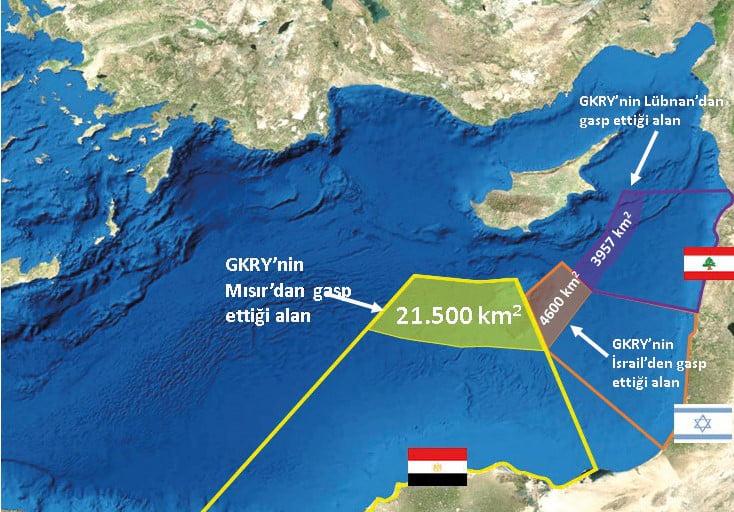 خارطة توضيحية لتقسيم المناطق البحرية في شرق المتوسط