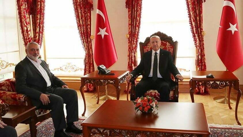 جانب من اللقاء بين الرئيس أردوغان وإسماعيل هنية