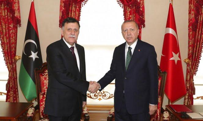 لقاء سابق بين الرئيس التركي وفايز السراج في ليبيا