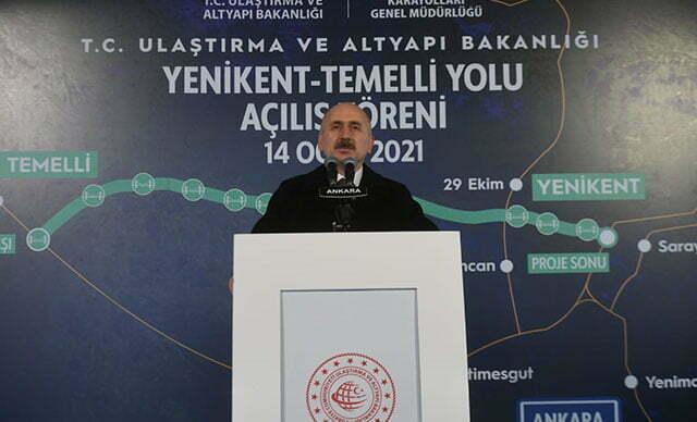وزير النقل والبنية التحتية خلال كلمته بافتتاح طريق ينيكنت- تميلي في العاصمة أنقرة