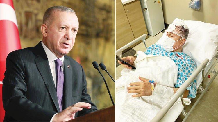 الرئيس أردوغان (يسار) نائب رئيس حزب المستقبل في المستشفى (يمين)