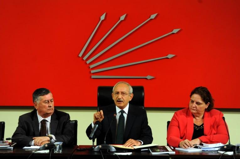 رئيس حزب الشعب الجمهوري كمال كيلتشدار أوغلو (وسط) مكالمة فيديو