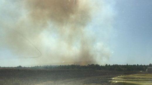 حريق كبير قرب مطار بن غوريون وسط فلسطين المحتلة