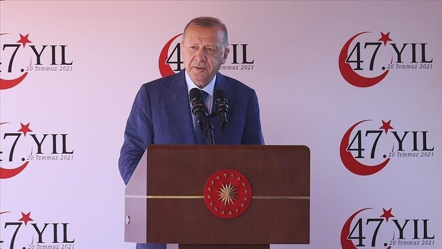 أردوغان يستقبل رئيس وزراء قبرص التركية